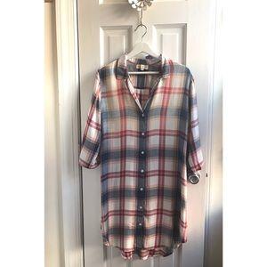 Cloth & Stone Cozy Plaid Tunic Dress